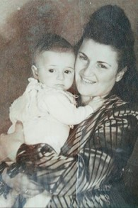 A Holocaust survivor and her young son in 1948.