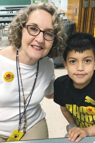 Helaine Hyman-Rosen and her reading buddy at Hackensack's Fairmount School