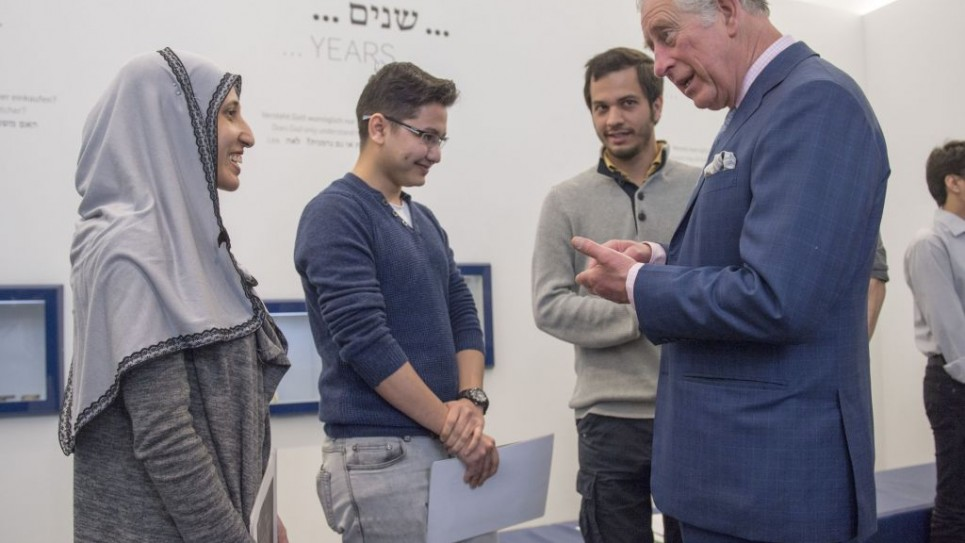 The Prince of Wales meets refugees during his visit to The Jewish Museum in Vienna, Austria on the ninth day of the his European tour. PRESS ASSOCIATION Photo. Picture date: Thursday April 6, 2017. See PA story ROYAL Tour. Photo credit should read: Arthur Edwards/The Sun/PA Wire