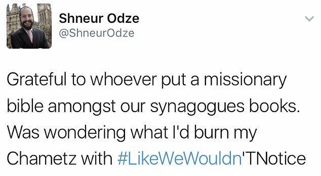Shneur Odze's tweet (Via The Daily Mail)