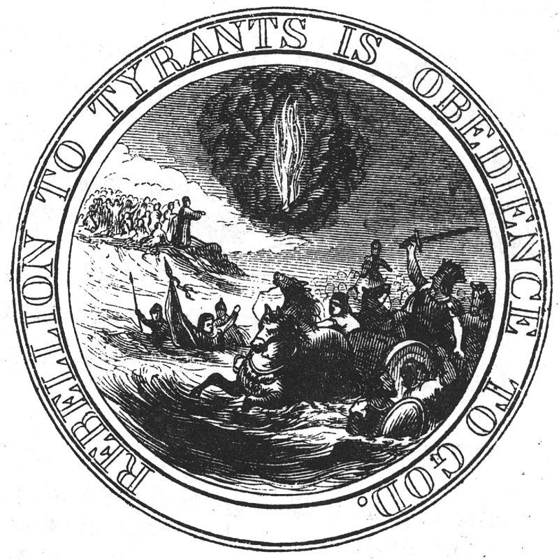 Ben Franklin's proposed design for the Great Seal of the United States included Moses parting the Red Sea. (Public domain)