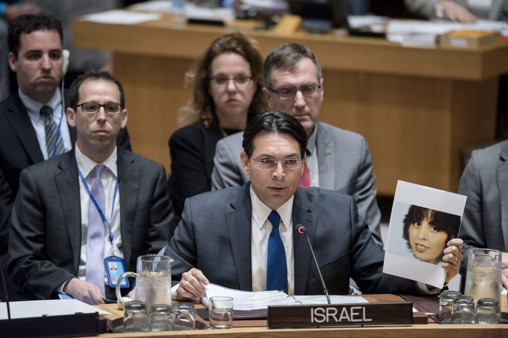 Israel ambassador Danny Danon speaks at a United Nations Security Council meeting, April 20, 2017. (UN Photo / Rick Bajornas)
