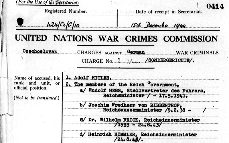 This document shows that in 1944 the United Nations War Crimes Commission sought to indict prominent Nazis (UNWCC)