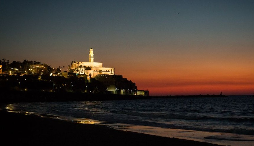 Illustrative: Jaffa seen at sunset on February  6, 2017.  (Sebi Berens/Flash90)