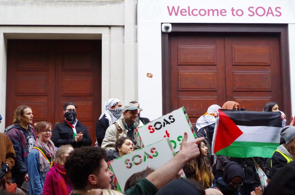 Anti-Israel demonstrates could be heard from inside the building