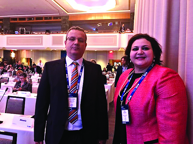 Albanian and Bahraini Jewish delegates, Artur Dojaka,and Nancy Khedouri