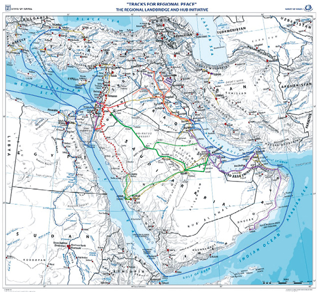 This map shows Israeli Cabinet minister Yisrael Katz's proposed regional railway. (Courtesy of the Intelligence Ministry)