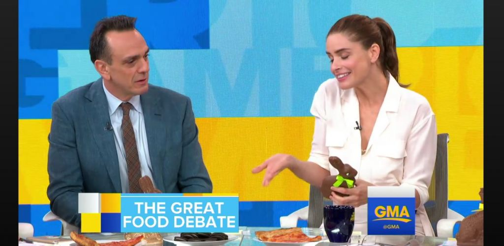 Hank Azaria and Amanda Peet discussing Easter eggs on ABC's Good Morning America, April 5, 2017 (Screen capture: ABC)