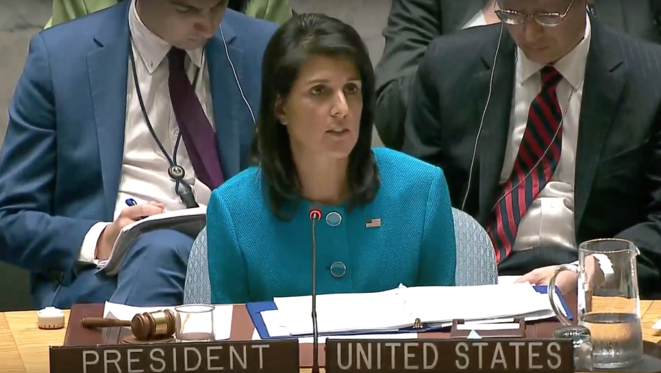 US envoy Nikki Haley speaks at the UN Security Council's monthly meeting on 'the Situation in the Middle East, including the Palestinian question,' April 20, 2017 (YouTube screenshot)