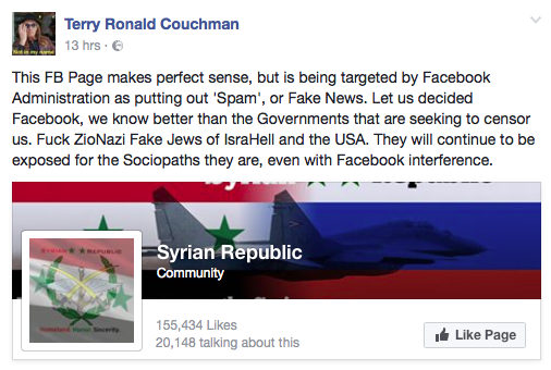 Terry Couchman post using the term ZioNazi