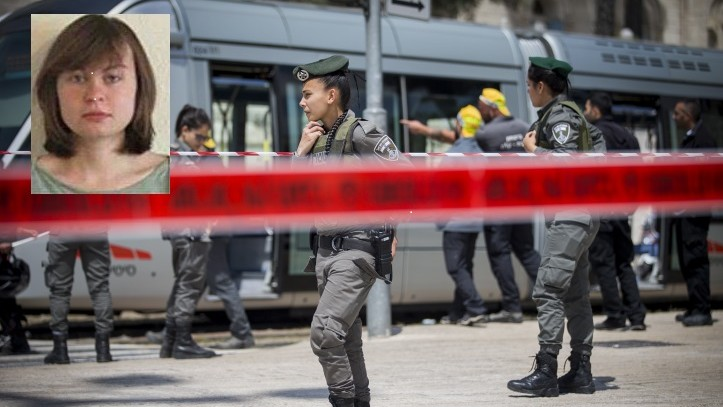 Police at the scene where Hannah Bladon, 21, a British exchange student, was killed in a stabbing attack on Jerusalem's light rail near IDF square in Jerusalem, on April 14, 2017. (Yonatan Sindel/Flash90) Inset: Hannah Bladon. (Courtesy)