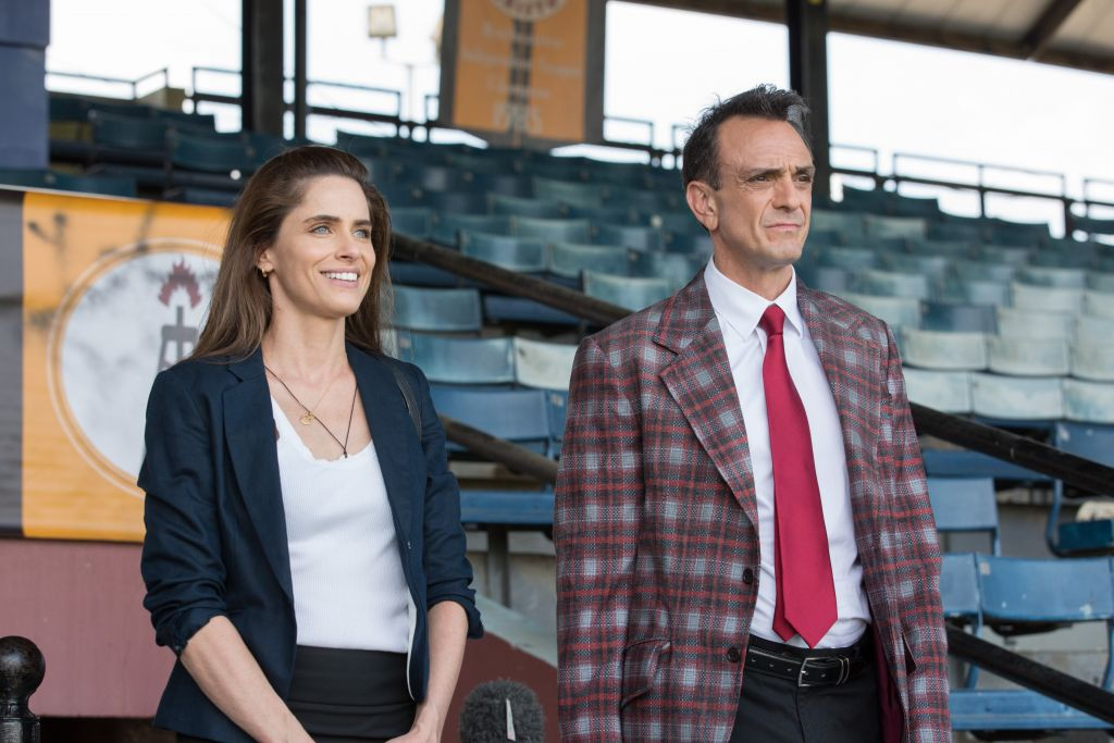 Amanda Peet with Hank Azaria in a scene from 'Brockmire.' (Erica Doss/IFC/via JTA)