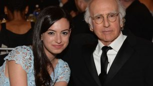 Cazzie David with her father Larry David at a ceremony honoring Mel Brooks at the Dolby Theatre in Hollywood, June 6, 2013. JTA