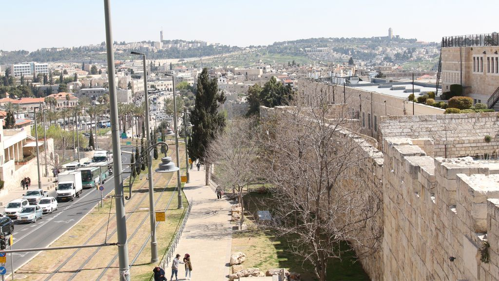 Jerusalem's northern ramparts, with a view of Mount Scopus and the Mount of Olives. (Shmuel Bar-Am)