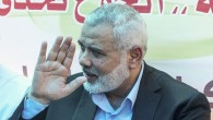 Newly elected Hamas chief, Ismail Haniyeh, gestures as he meets with protesters at a sit-in supporting Palestinian hunger-striking prisoners held in Israeli jails, in Gaza City, May 8, 2017 (AFP/MAHMUD HAMS)