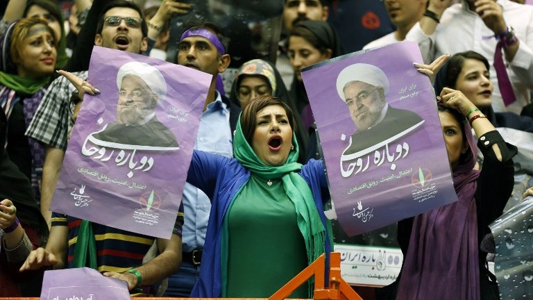 Iran's Khatami urges voters to re-elect Rouhani as president