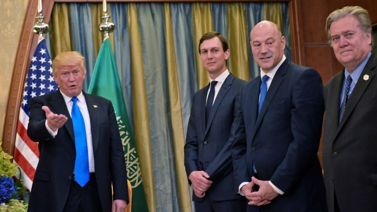 US President Donald Trump, senior advisor Jared Kushner, Director of the National Economic Council Gary Cohen, and Chief Strategist Stephen Bannon are seen during a bilateral meeting with the Saudi crown prince (not in photo) at a hotel in Riyadh on May 20, 2017. (AFP Photo/Mandel Ngan)