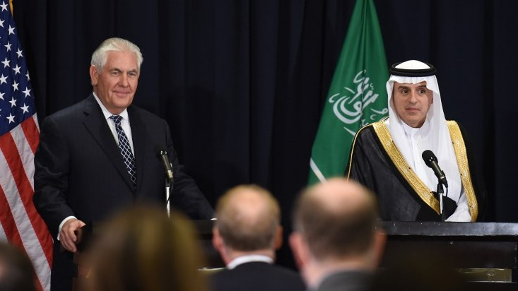 Tillerson holds briefing in Saudi Arabia without US press