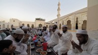 Pakistani Muslims pray before breaking their fast on the start of the holy month of Ramadan at a mosque in Peshawar on May 27, 2017. (AFP/Abdul Majeed)