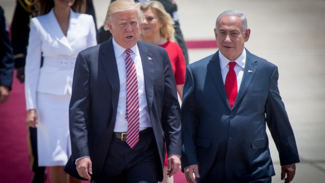 Donald Trump at a welcoming ceremony  as he arrives at Ben Gurion Airport near Tel Aviv on May 22, 2017,   Photo by : JINIPIX