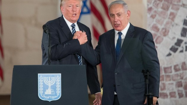 US president Donald Trump and Israeli Prime Minister Benjamin Netanyahu arrive to give their final remarks at the Israel Museum in Jerusalem before Trump departure, on May 23, 2017. Photo by: JINIPIX