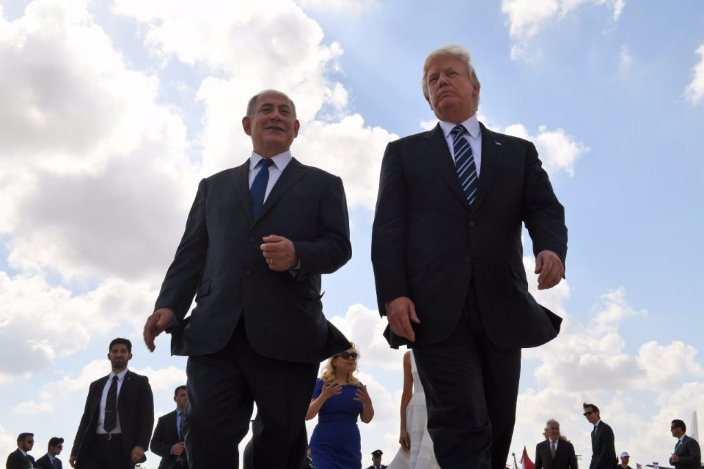 President Donald Trump and Prime Minister Benjamin Netanyahu at Ben Gurion Airport on May 23, 2017, at the end of Trump's visit to Israel (Coby Gideon / GPO)