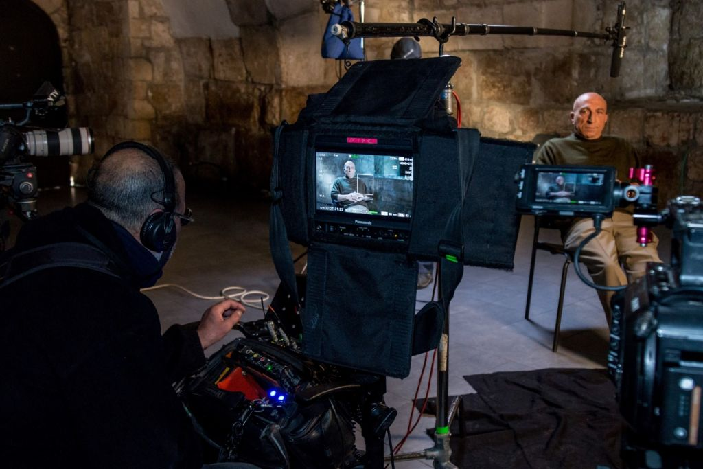 Filming one of the 50 faces from the Tower of David Jerusalem Day documentary film project (Courtesy Ricki Rahaman)