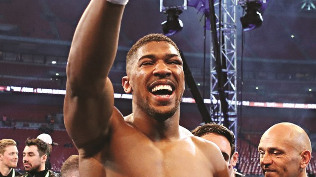 Anthony Joshua celebrating his win over Wladimir Klitschko on Saturday evening