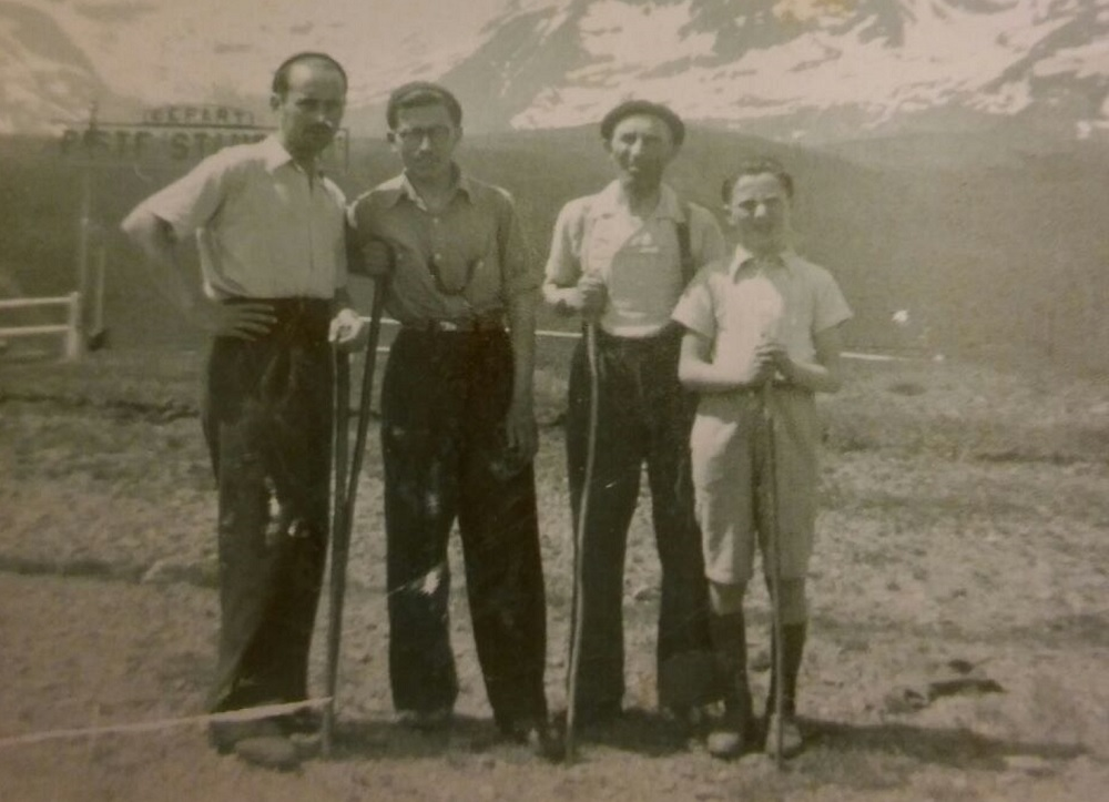 Neville's father in law Joseph and Joseph's father (far right) with two others on a practice run over the Alps before they made their escape.