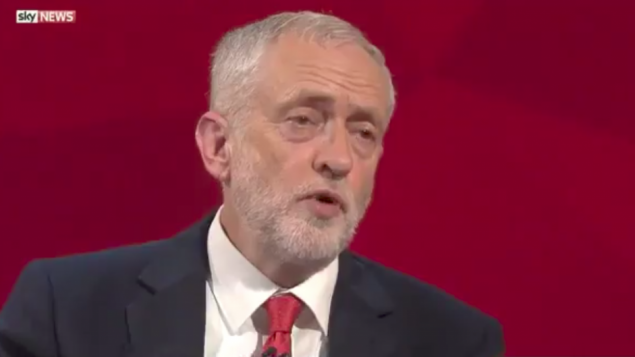 Jeremy Corbyn speaking about Hamas during the debate