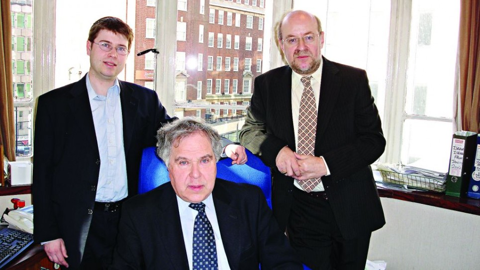 David Segel, centre, with his son, Jeremy, left, and finance director David Kershman