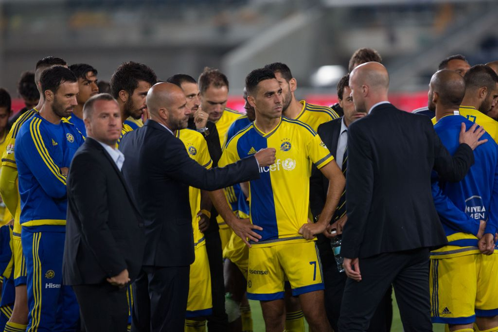 Illustrative image of Maccabi Tel Aviv soccer players on May 24, 2016. (Yonatan Sindel/Flash90)