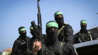 Masked Hamas gunmen attend the funeral of Mazen Fuqha in Gaza City, March, 25, 2017. (Abed Rahim Khatib/Flash90)