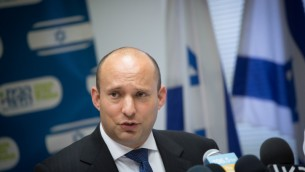 Jewish Home chairman Naftali Bennett, speaks during a party faction meeting at the Knesset, on May 15, 2017. (Miriam Alster/Flash90)