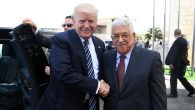 Palestinian Authority President Mahmoud Abbas and US President Donald Trump greet each other at the Presidential Palace in Bethlehem on May 23, 2017. Getty Images