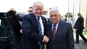 Palestinian Authority President Mahmud Abbas and US President Donald Trump greet each other at the Presidential Palace in Bethlehem on May 23, 2017.  Getty Images
