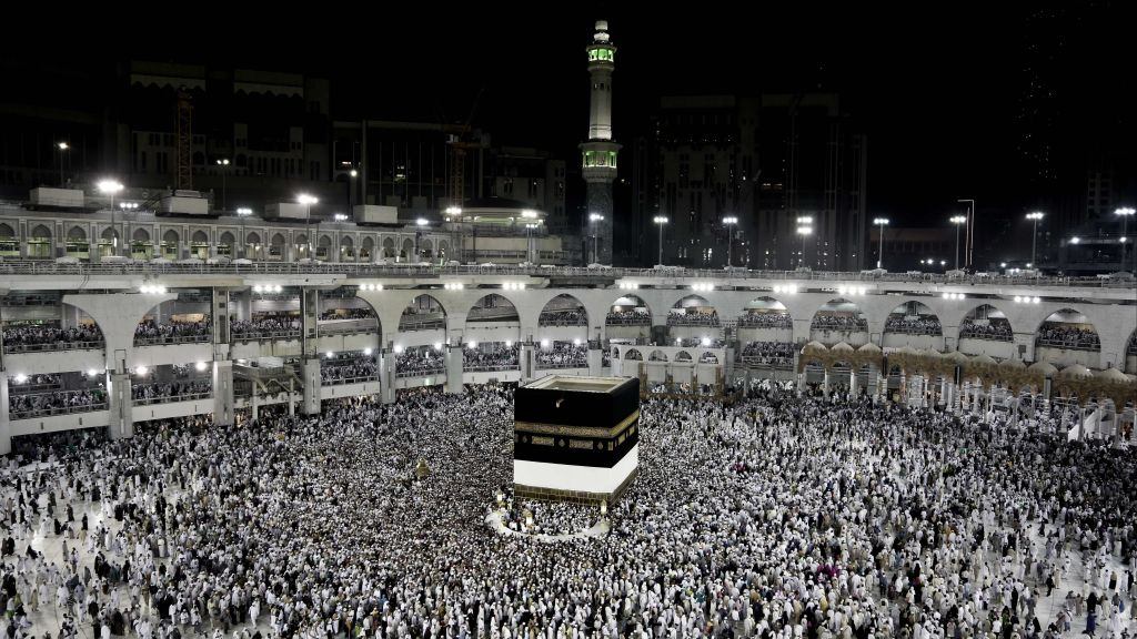 In this Sept. 7, 2016, photo, Muslim pilgrims circle the Kaaba, Islam's holiest shrine, at the Grand Mosque in the Muslim holy city of Mecca, Saudi Arabia. (AP Photo/Nariman El-Mofty)