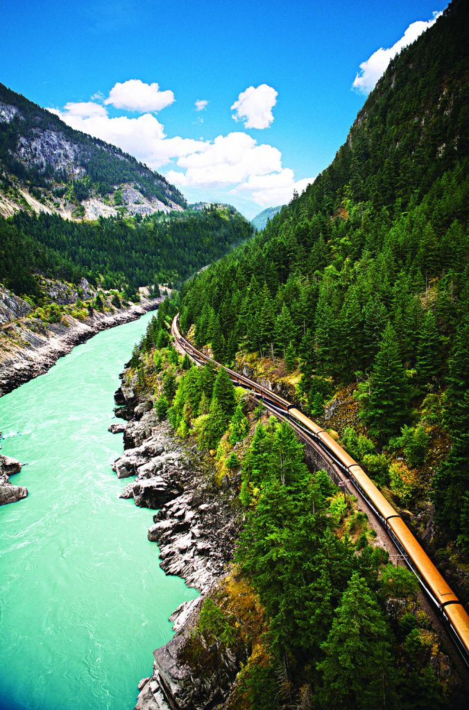 The Rocky Mountaineer train going through Fraser Canyon