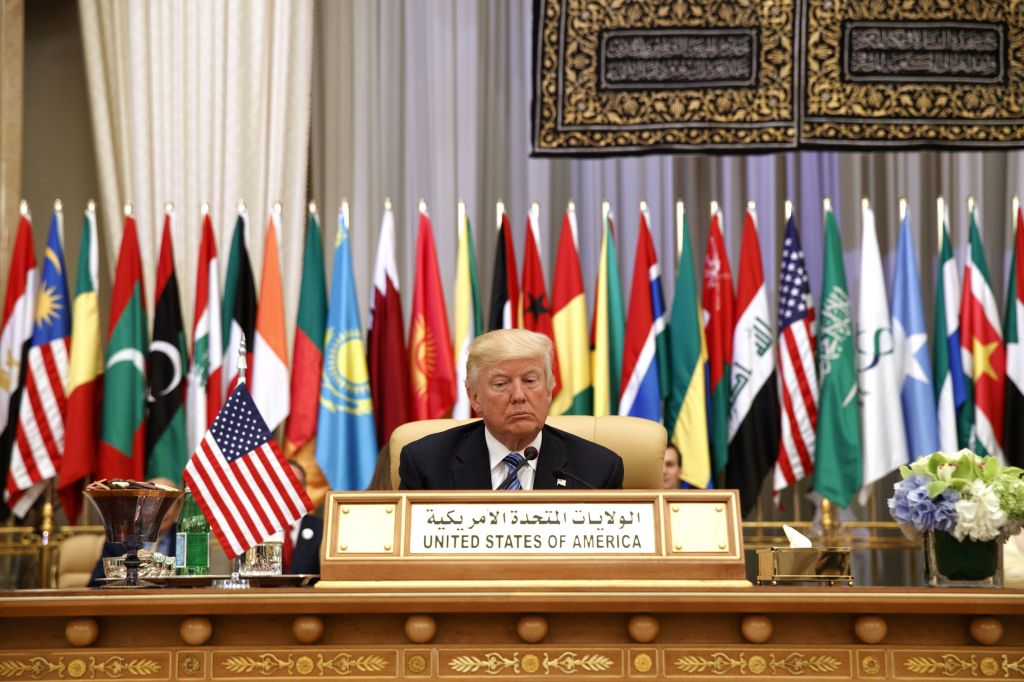 US President Donald Trump waits to deliver a speech to the Arab Islamic American Summit, at the King Abdulaziz Conference Center, in Riyadh, Saudi Arabia, May 21, 2017. (AP/Evan Vucci)
