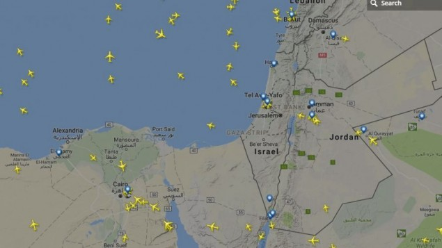 A screen capture showing commercial air traffic over Israel cleared just after noon on May 22, 2017. (Screen capture: Flightradar24)