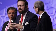 Sebastian Gorka, center, at the Conservative Political Action Conference at the Gaylord National Resort in National Harbor, Maryland, Feb. 24, 2017. JTA