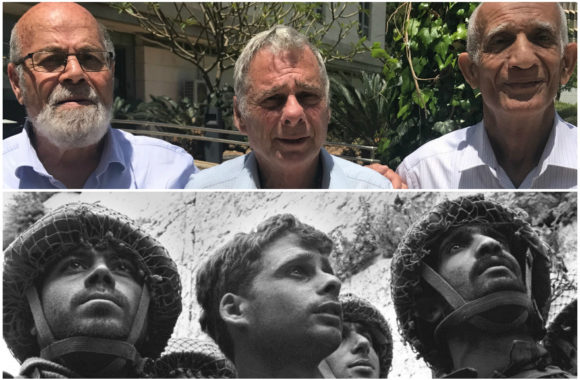 In top photo, from left: Tzion Karasenti, Yitzhak Yifat and Chaim Oshri standing on the Tel Aviv University campus in Ramat Aviv, Israel, May 7, 2017. They were featured in the iconic photo by David Rubinger after the Six-Day War in 1967. (Andrew Tobin/David Rubinger/GPO)