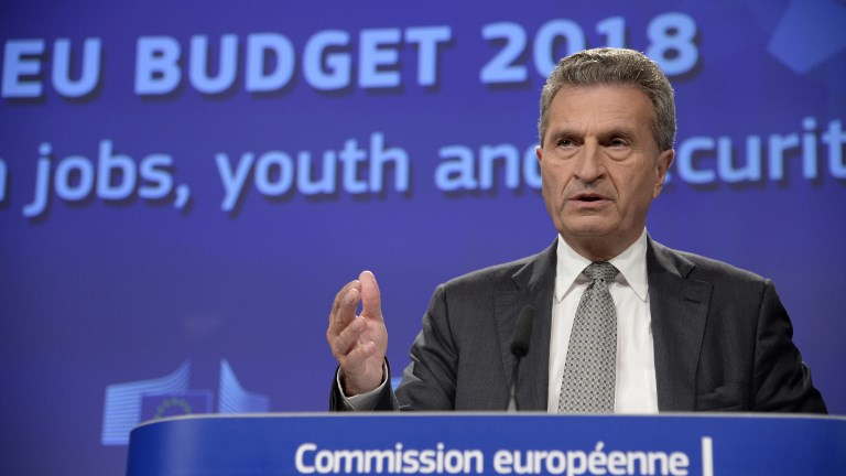 European Union (EU) Commissioner for Digital Economy and Society Gunther Oettinger speaks during a press conference on May 30, 2017 at the EU Commission headquarter in Brussels. (THIERRY CHARLIER / AFP)