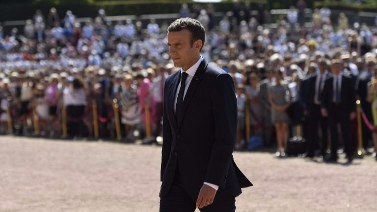 French President Emmanuel Macron attends a ceremony marking the 77th anniversary of late French General Charles de Gaulle's appeal of June 18, 1940, at the Mont Valerien memorial in Suresnes, outside of Paris, on June 18, 2017. (Bertrand GUAY/POOL/AFP)