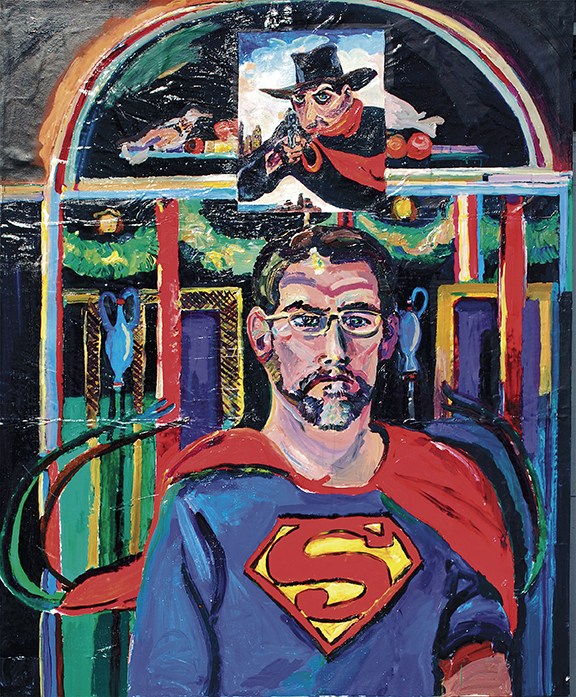 "Joel Silverstein, ""Jo-El/Jor-El."" The artist plays with superheroes and autobiography; Jor-El is Superman's father."