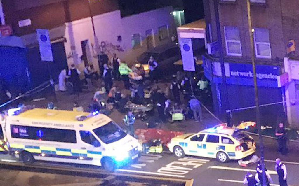 "Picture taken with permission from the Twitter feed of Thomas Van Hulle @Thomasvanhulle showing police activity on the Seven Sisters Road in north London, where one person has been arrested after a vehicle struck pedestrians, leaving ""a number of casualties"". Photo credit: Thomas Van Hulle @Thomasvanhulle/PA Wire"