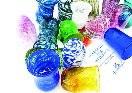 designs all sorts of glass products, including kiddush cups, dishes and mezuzot