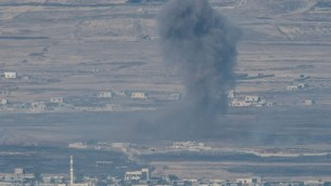 Smoke rise from Syrian village as a result of fighting near the city of Quneitra, in the Golan Heights, 24 June 2017. An Israeli army spokesman reported that in response to over ten projectiles launched from Syrian soil which hit Israel, Israeli aircraft targeted the position from which the launches originated and struck tanks belonging to the Syrian regime in the Northern Syrian Golan Heights. An official protest has been filed with United Nations Disengagement Observer Force (UNDOF).   Photo by: Ayal Margolin- JINIPIX