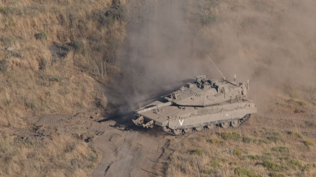 An Israeli tank on the Goland Heights border with Syria.    Photo by: Ayal Margolin- JINIPIX