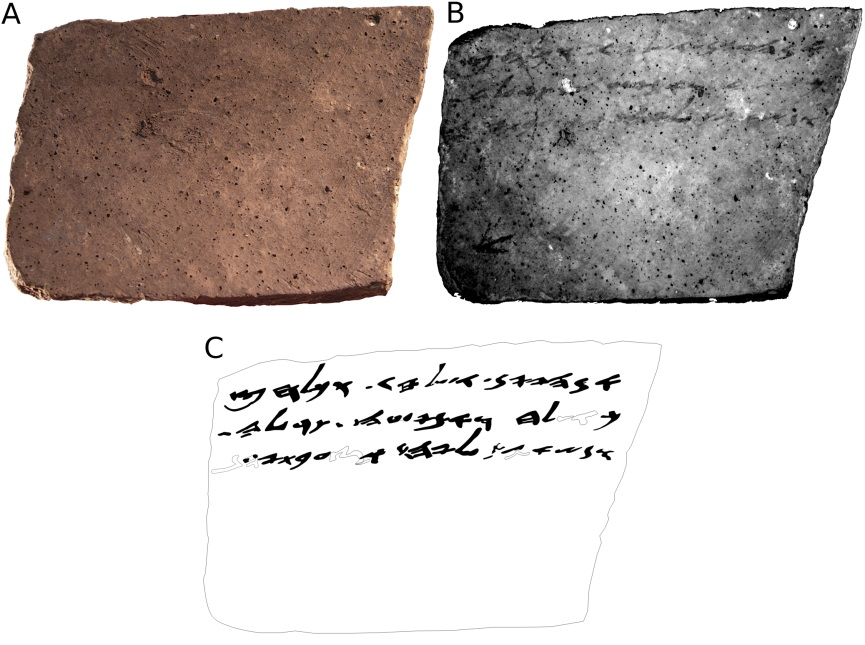 The verso of Arad Ostracon No. 16. (A) color (RGB) image; (B) MS image corresponding to 890 nm; (C) manual drawing (facsimile) of the proposed reading. Hollow shapes represent conjectured characters. (Courtesy Tel Aviv University)